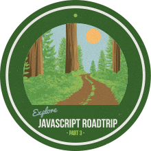 JavaScript carretera Parte de viaje 3 Finalización Badge